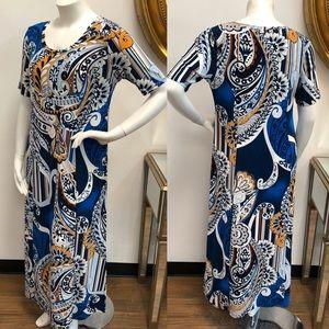 CHICO's Blue Multicolor Maxi Dress